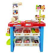 Детский игровой набор Кондитерская Супермаркет (магазин) синий с красным 40 предметов, высота 76см, 668-19-21