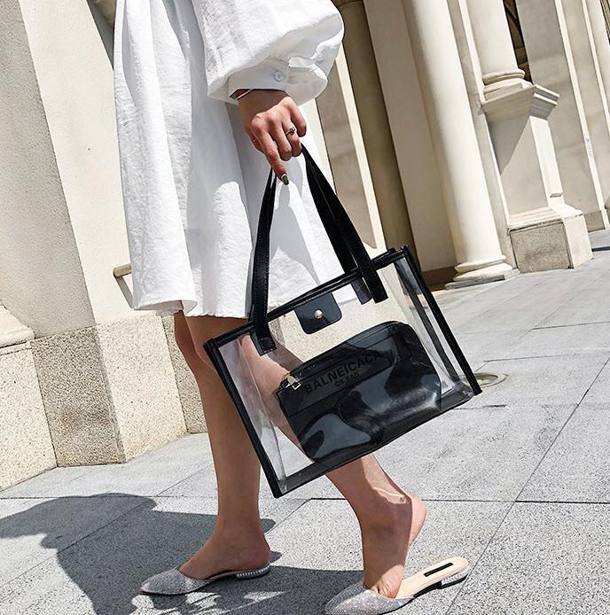 Большая прозрачная сумка с клатчем для модных девушек