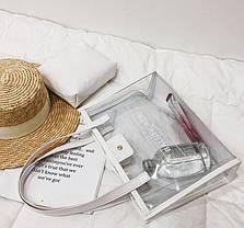 Большая прозрачная сумка с клатчем для модных девушек, фото 3