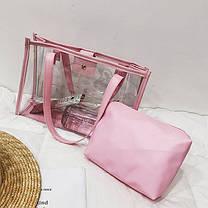 Большая прозрачная сумка с клатчем для модных девушек, фото 2