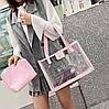 Большая прозрачная сумка с клатчем для модных девушек, фото 4
