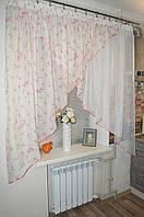 "Тюль на кухню Уголок ""розовый винок""., фото 1"