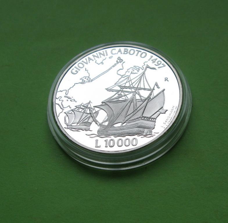 Сан Марино 10000 лир 1997 г. Парусник /корабль . Серебро 22 гр.