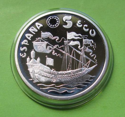 Испания 5 экю 1995 г. Парусник , серебро 33,62 гр.