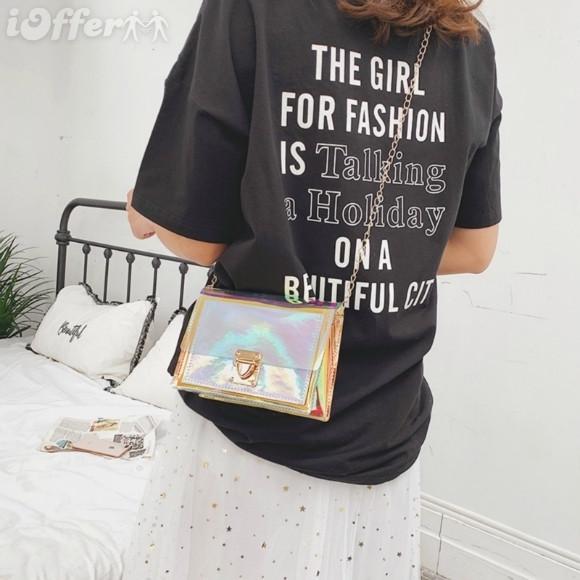 Модная прозрачная сумка с радужным переливом