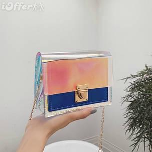 Модная прозрачная сумка с радужным переливом, фото 2
