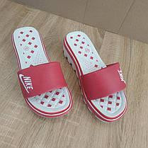 Распродажа! 37 размер Шлепанцы Nike розовые шлепки на танкетке на тракторной подошве тапки на каблуке, фото 3