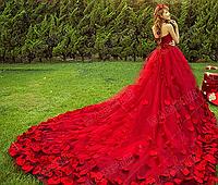 Свадебное платье трансформер со съмным шлейфом - КРАСНОЕ, фото 1