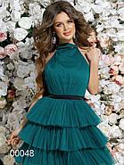 Платье с многоярусной юбкой из сетки и открытой спиной, 00048 (Зеленый), Размер 42 (S), фото 2