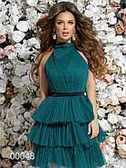 Платье с многоярусной юбкой из сетки и открытой спиной, 00048 (Зеленый), Размер 42 (S), фото 3