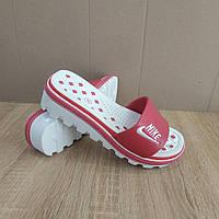 Распродажа! 37 размер Шлепанцы Nike розовые шлепки на танкетке на тракторной подошве тапки на каблуке