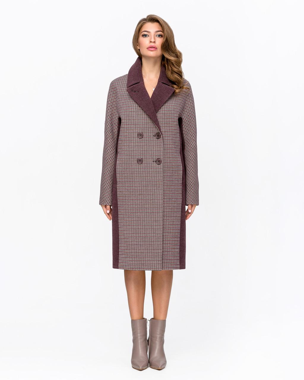 Женское двубортное пальто с принтом гусиная лапка