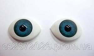 """Глазки """"живые""""для кукол , пластиковые,рыбки,голубые ,11х16 мм"""