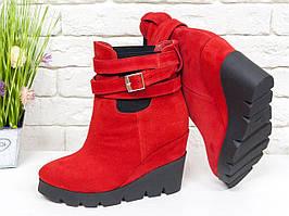 Ботинки женские из натуральной красной замши 36-40р