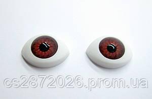 """Глазки """"живые""""для кукол , пластиковые,рыбки,карие,11х16 мм"""