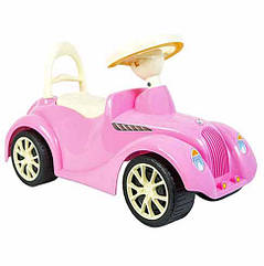 Машинка каталка Ретро 900 Орион, Розовая машина толокар в ретро стиле для прогулок