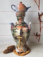 Керамический электросамовар с ручной художественной росписью 3,5 л, фото 1