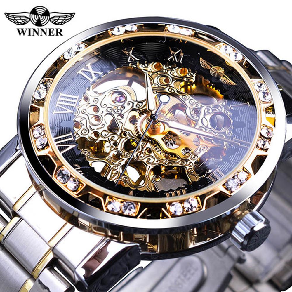 Механічний годинник Winner Skeleton, чоловічий механічний годинник, срібний годинник Віннер скелетон