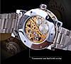 Механічний годинник Winner Skeleton, чоловічий механічний годинник, срібний годинник Віннер скелетон, фото 7