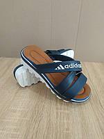 Распродажа! Шлепанцы Adidas синие тапки шлепки на танкетке на тракторной подошве