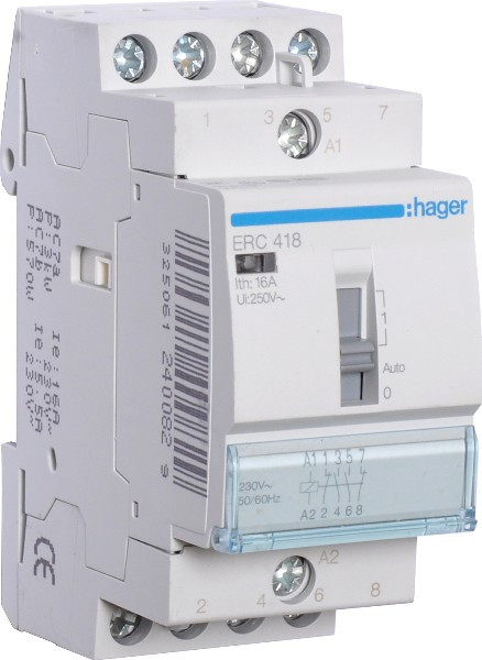 Контактор пускатель с ручным управлением Hager ERC425, 25A, 230В, 4НО