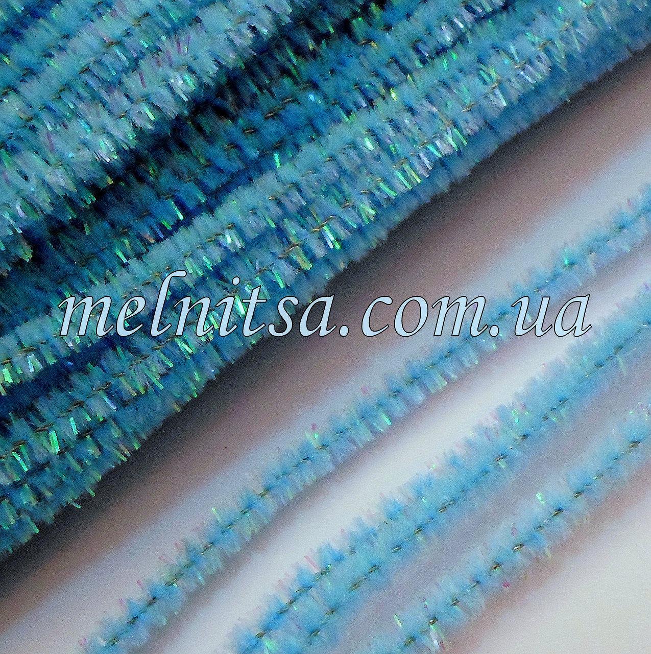 Синельная проволока, 30см, насыщенный голубой, перламутр, 10 шт.