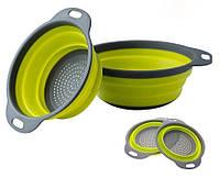 Дуршлаг силиконовый складной большой + маленький  Collapsible filter baskets, фото 1