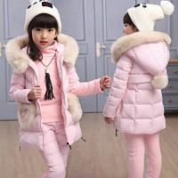 Класний теплий костюм-трійка р. 160см для дівчаток