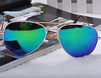Солнцезащитные очки Авиаторы, золотистая оправа, линзы сине-зеленого цвета, фото 1