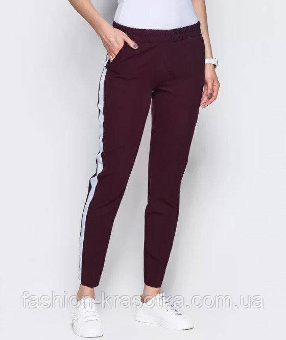 Модные женские брюки с лампасами,костюмная ткань,размеры:40,42,44,46,48.