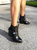Дизайнерские ботинки из натуральной кожи черного цвета и эластичными вставками из дайвинга 36-41р