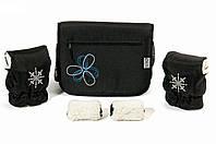 """Комплект сумка и рукавички на коляску Ok Style """"Цветок"""" Черная Цветок бело-синий"""