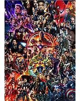 Красочный плакат с героями комиксов Марвел!