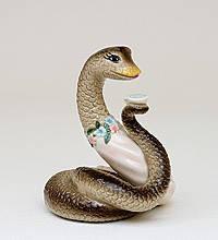 Статуэтка  Змея- гурман с чашечкой (8см) из фарфора в подарочной коробке