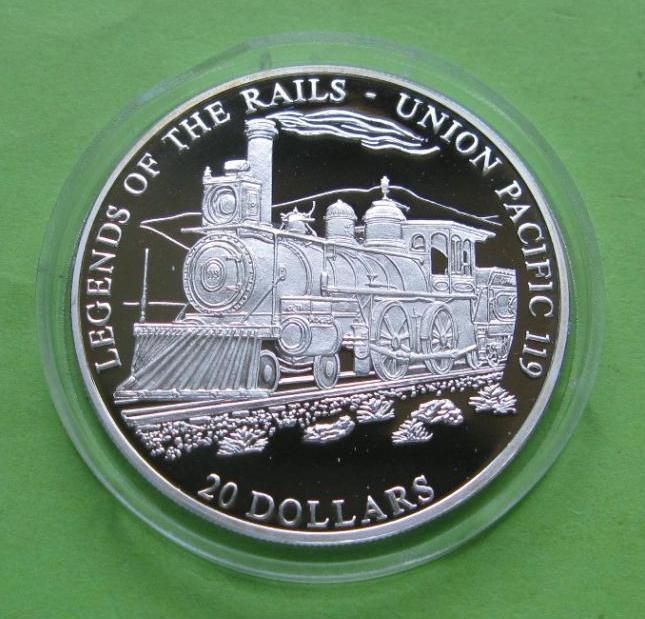 Либерия 20 долларов 2001 г. Легенды железных дорог , поезд UNION PACIFIC 119