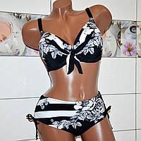 Размер 50,52! Модельный красивый раздельный купальник для женщин, черно-белый с узором цветы, формовая чашка.