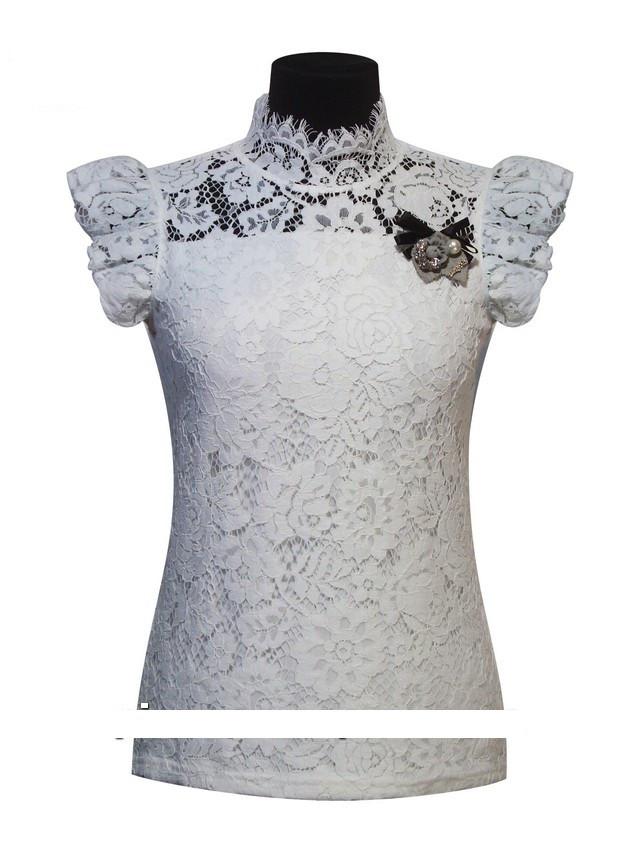 Детская школьная блуза для девочки с коротким рукавом от BEAR RICHI 782295   122-158р.