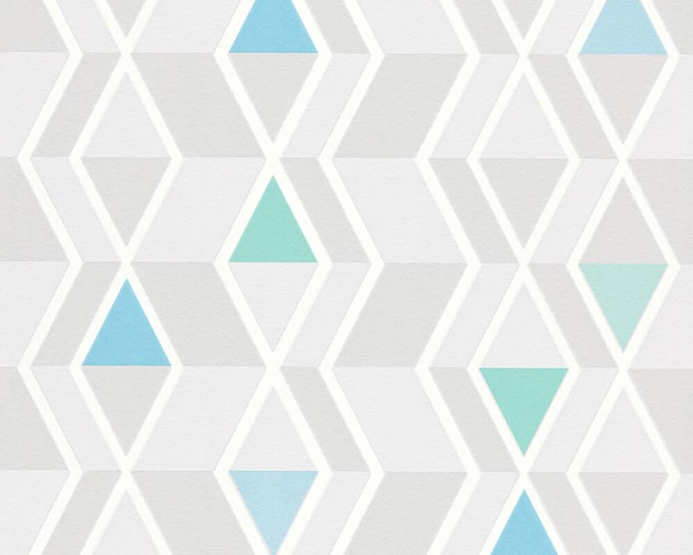 Вінілові німецькі шпалери з блакитними і м'ятними трикутничками Skandinavian 343021 геометрія в дитячу
