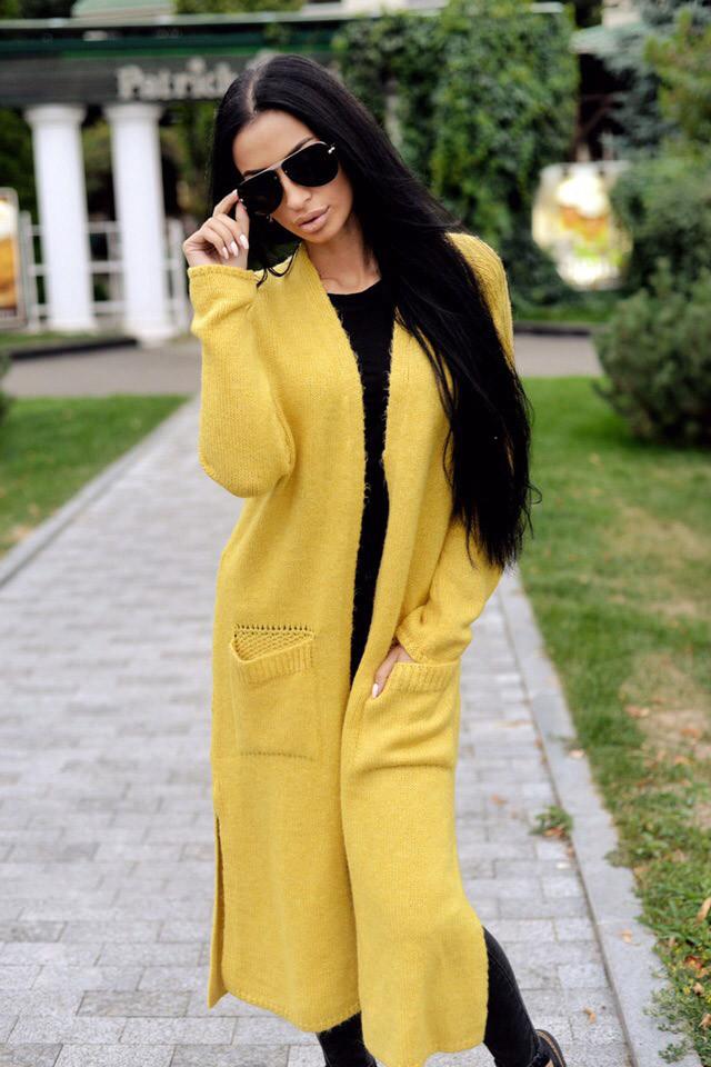 e998283b1f43 Длинный женский вязаный кардиган Турция, желтый