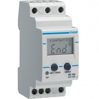 Реле контроля тока 1-фазное со встроенным амперметром Hager EU103