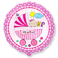 Фольгированный шар круглый розовый девочка в коляске It's a girl 45 см Flexmetal (Испания)