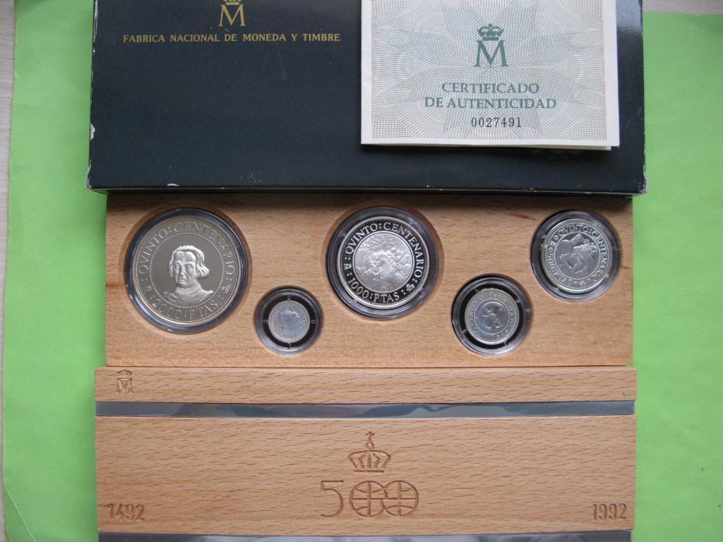 Испания набор 1989 г. Открытие Колумбом Америки (5 монет) , серебро 52,3 гр.