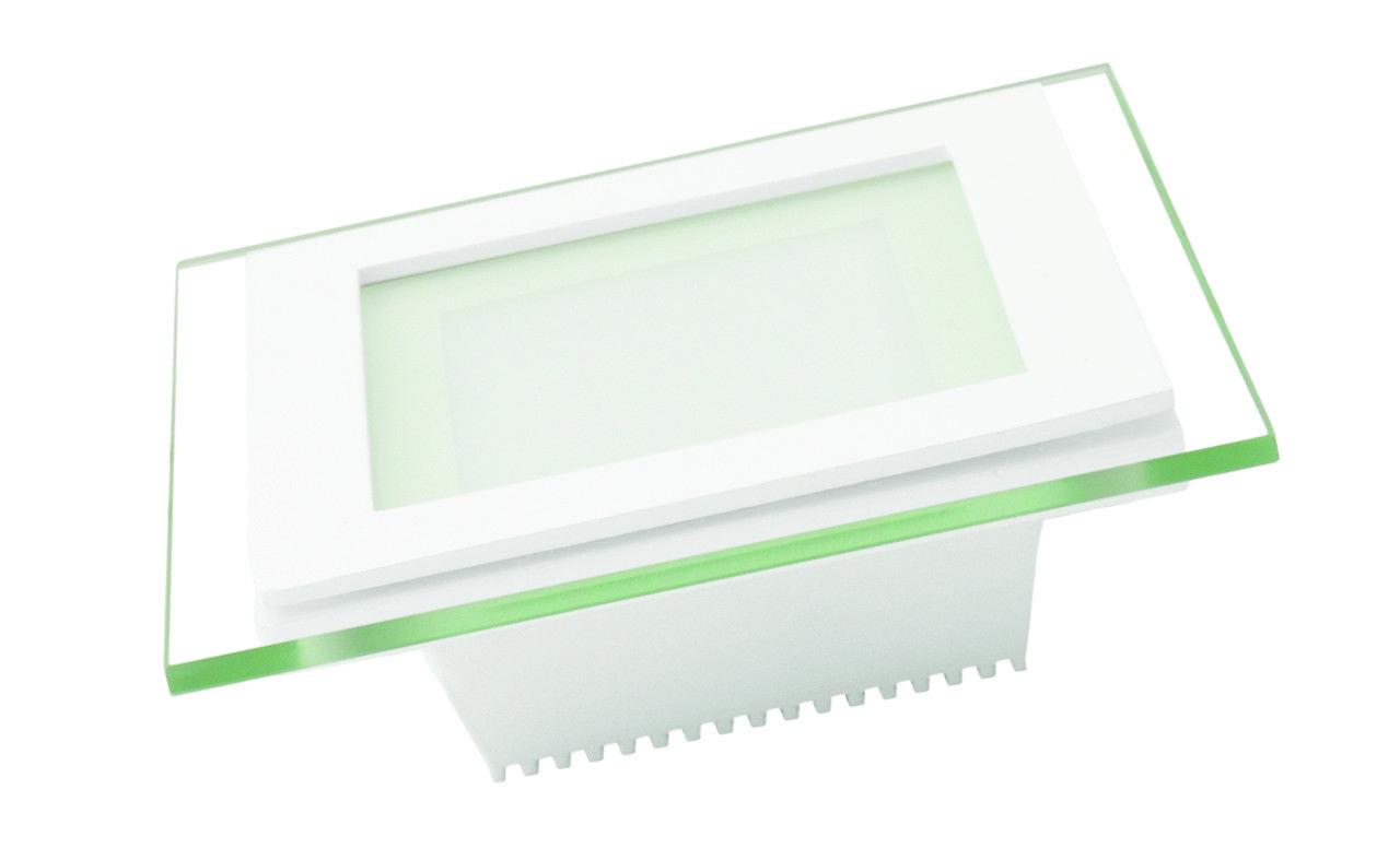 Врезной стеклянный светильник (квадрат, 20см, 15W, тёплый свет)