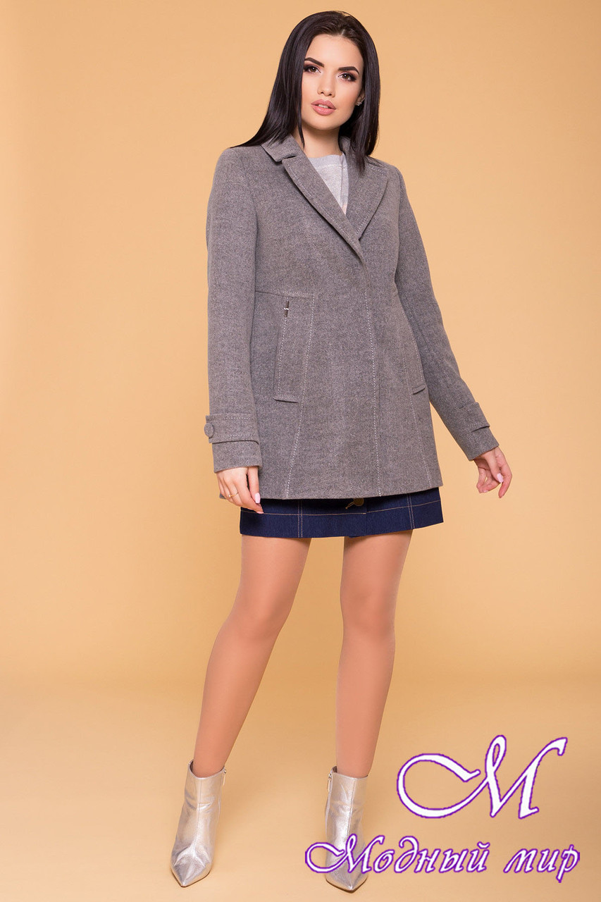 Женское серое осеннее пальто (р. S, M, L) арт. Смарта 6395 - 41427