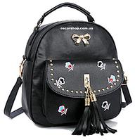Хит сезона кожаный мини рюкзак.  Женская сумочка для девушек. Женский портфель с украшением. С27