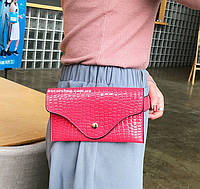 Розовый кошелек клатч  Женская сумочка из иск кожи. Нагрудная сумка. Поясная сумка для девочек. К25