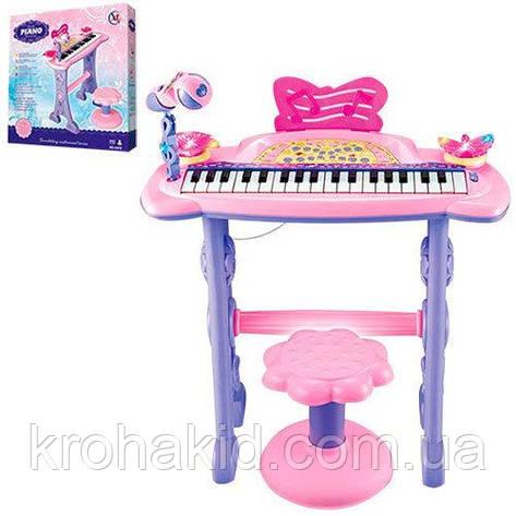 Дитяче піаніно-синтезатор 37 клавіш з мікрофоном 6613 на ніжках, стільчик, мікрофон, два динаміки від батарейок, фото 2