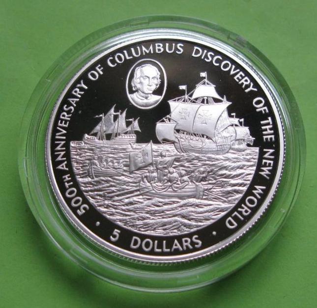 Кайманы 5 долларов 1988 г. Парусник /корабль . Серебро 28,28 гр.