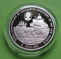 Кайманы 5 долларов 1988 г. Парусник /корабль . Серебро 28,28 гр., фото 1