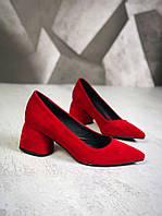 Шикарные замшевые туфли на каблучке 36-40 р красный, фото 1
